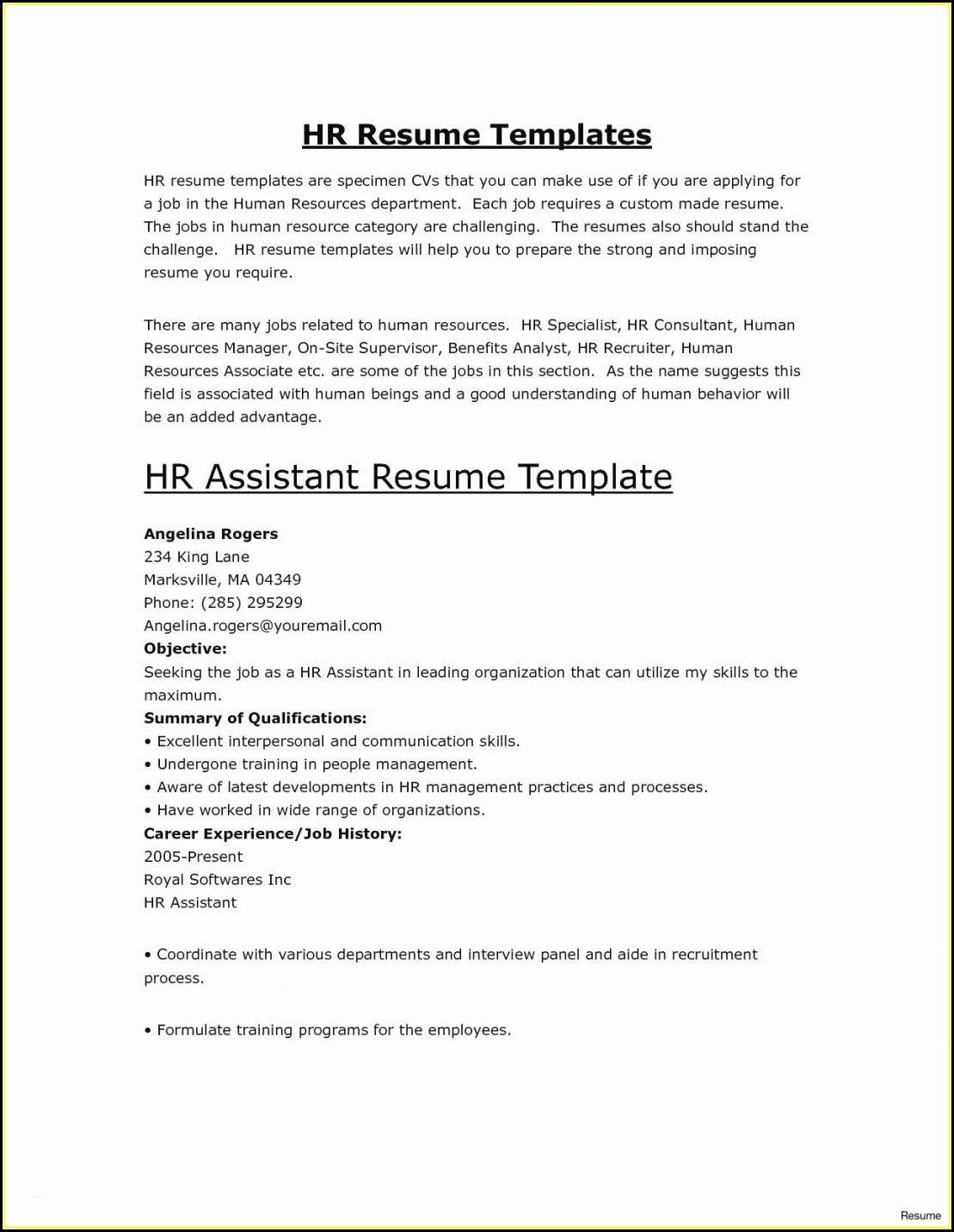Elegant Resume Templates Free Download