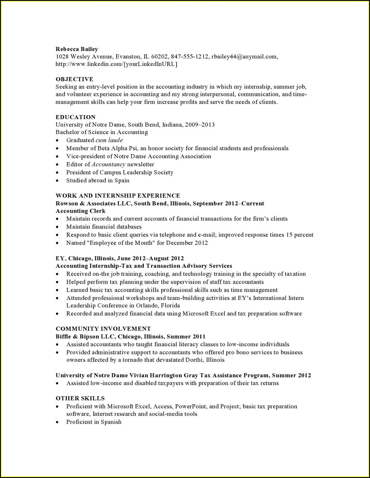 Entry Level Accounting Resume Templates