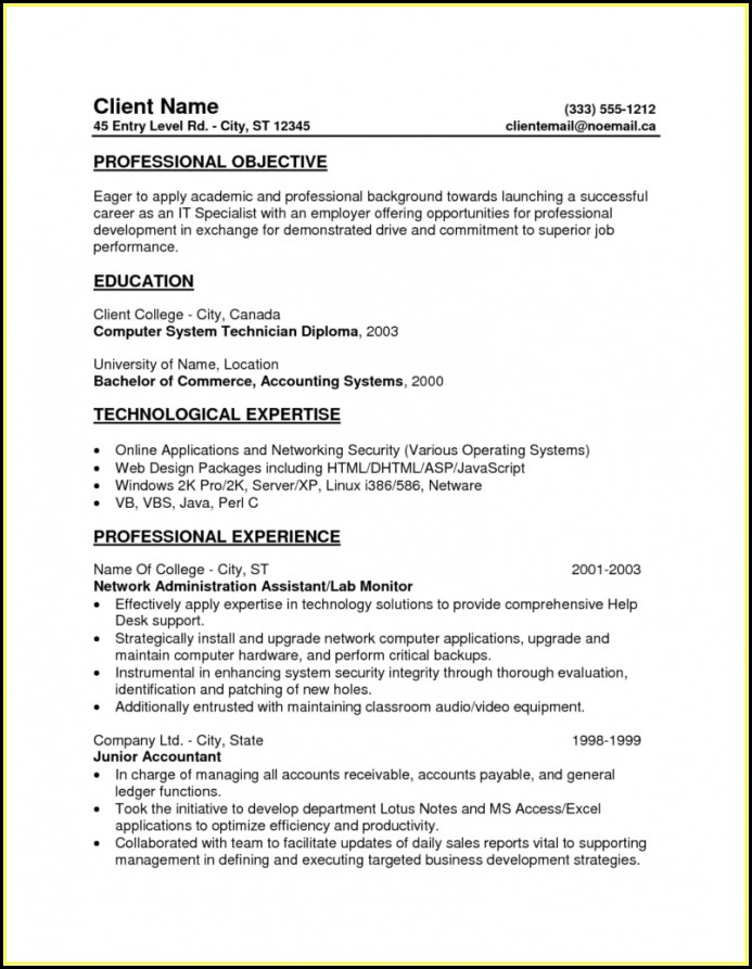 Entry Level Resumes Templates
