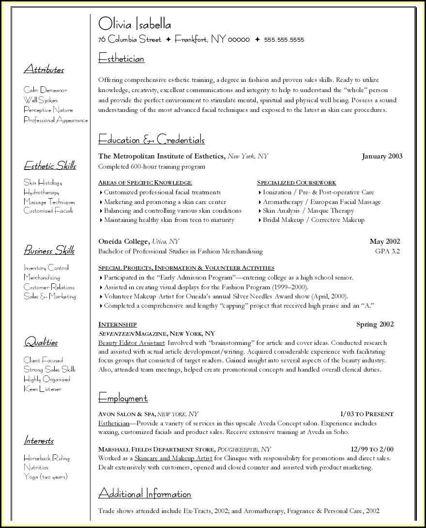 Esthetician Resume Template Download