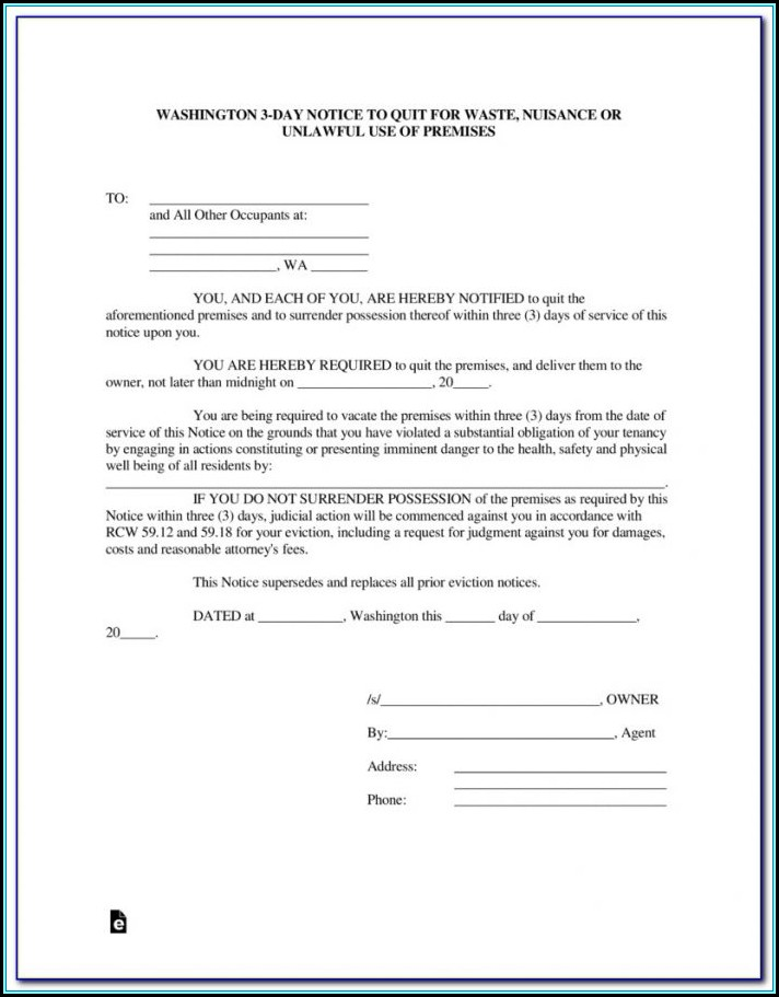 Eviction Notice Forms Washington State