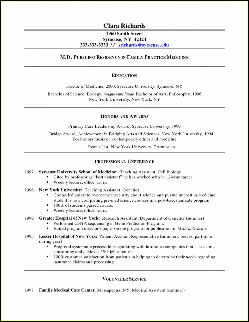 Example Of Resumes For Medical Assistant