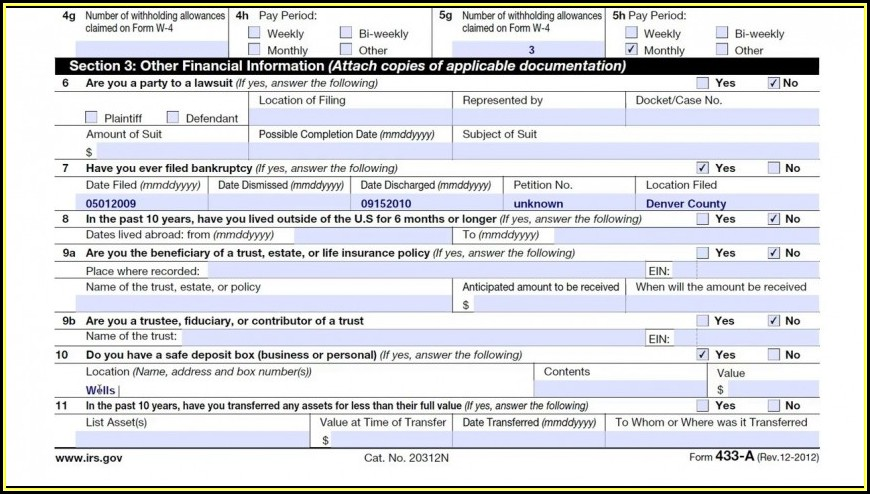 Fillable Irs Form 433 A (oic)