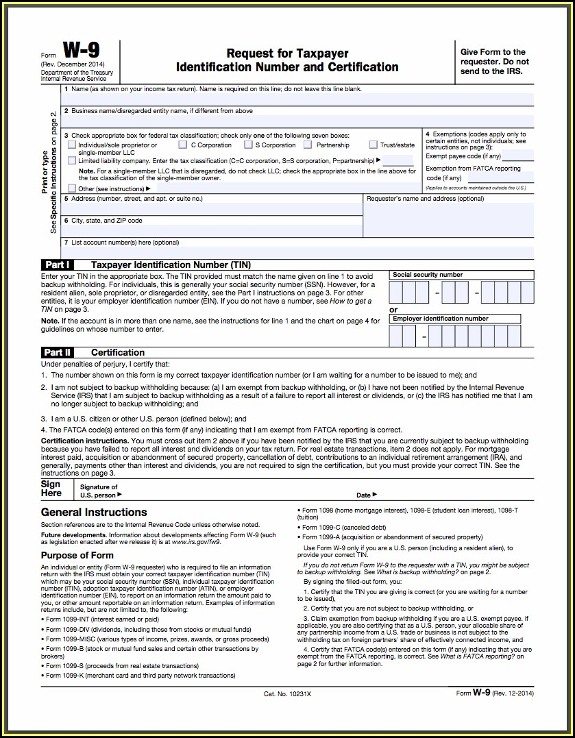 Fillable W 9 Tax Form 2019