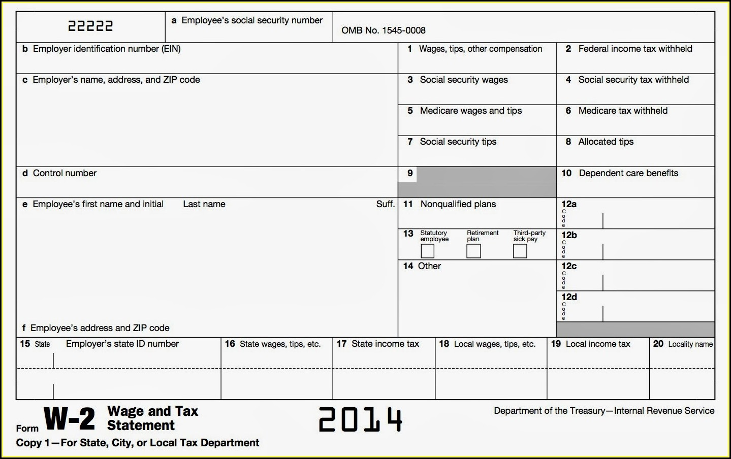 Fillable W2 Form 2013 Free