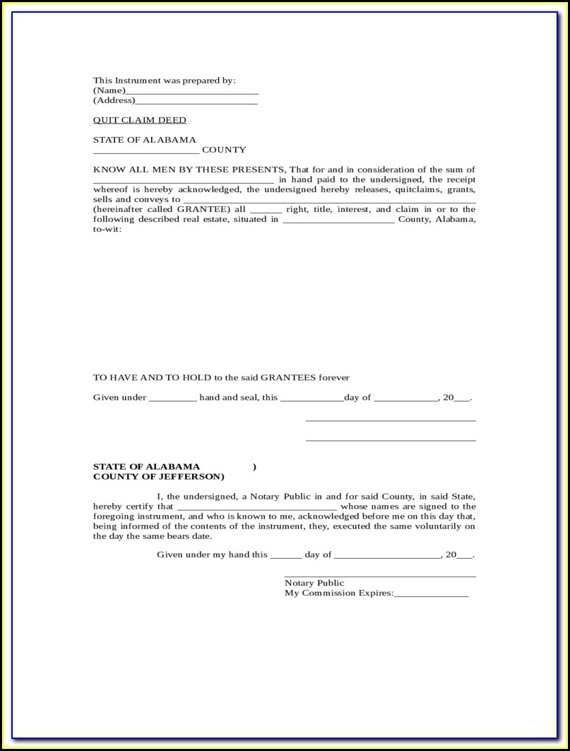 Florida Quit Claim Deed Form Volusia County