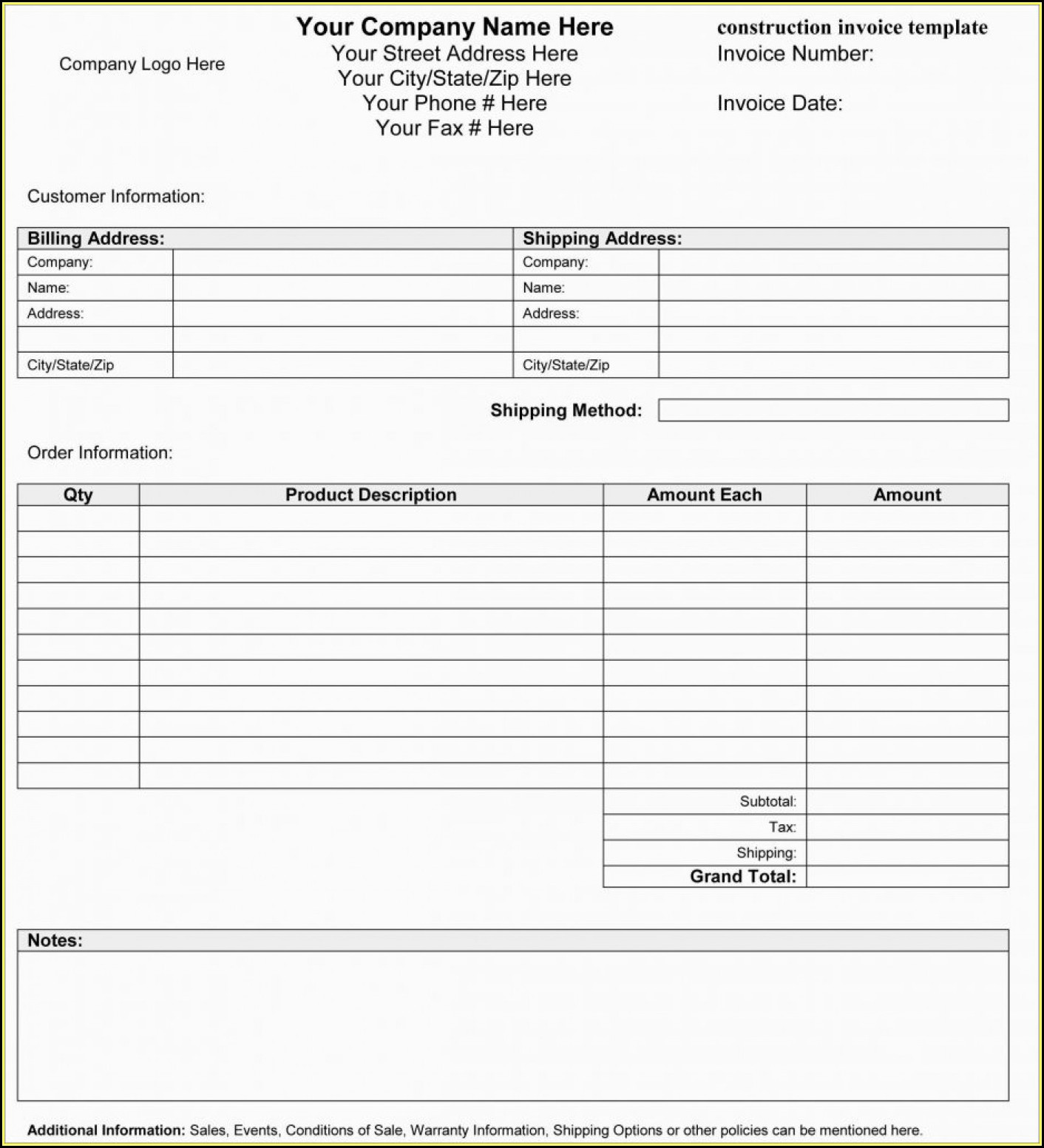 Free Blank Commercial Invoice Forms
