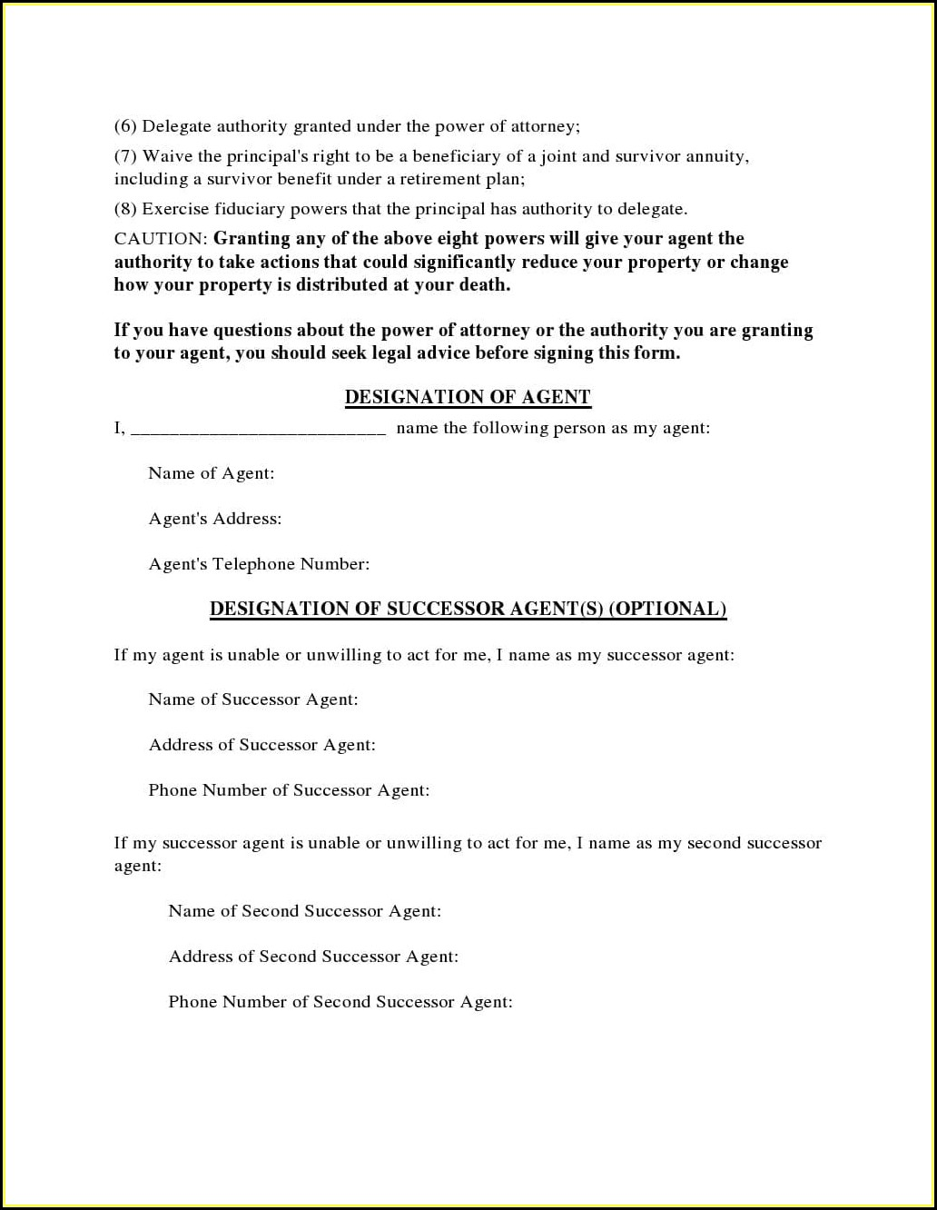 Free Blank Printable Medical Power Of Attorney Forms Ohio