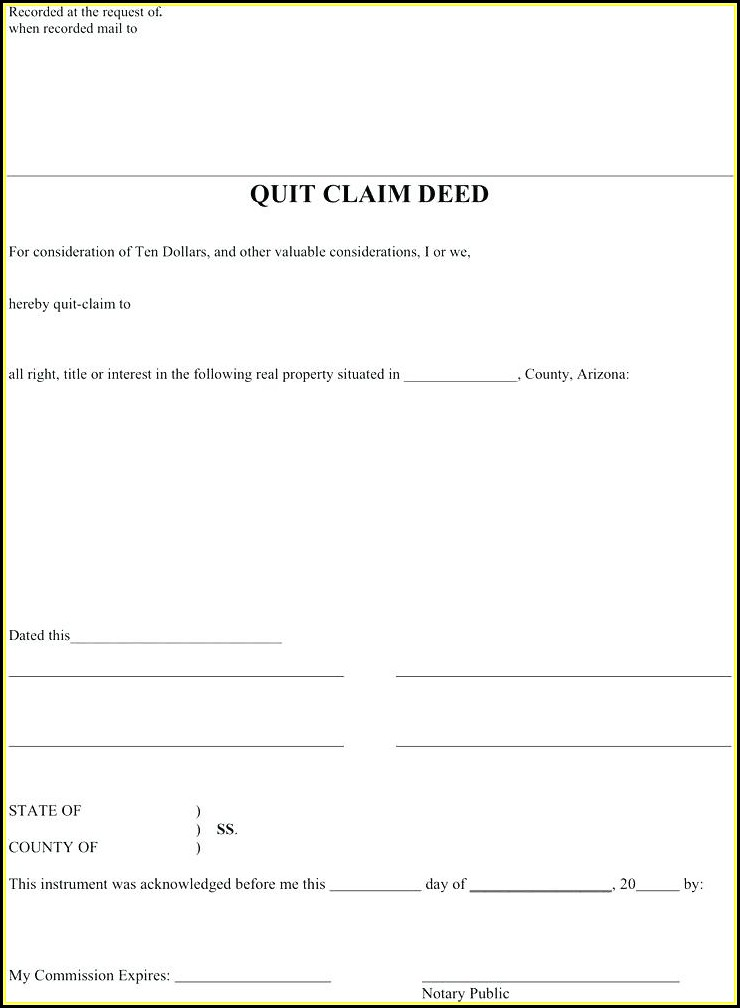 Free Blank Quit Claim Deed Form Texas