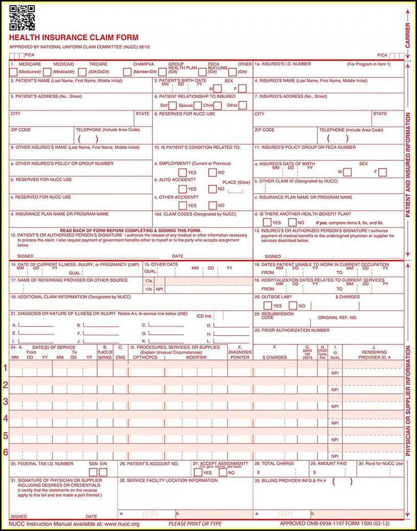 Free Cms 1500 Form Pdf