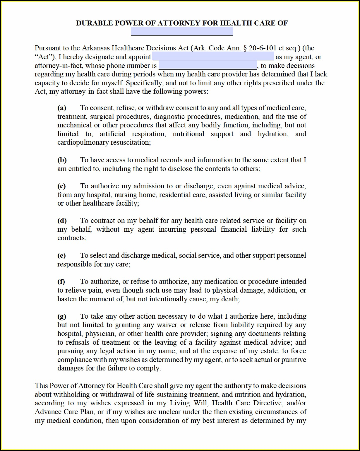 Free Durable Power Of Attorney For Health Care Form Texas