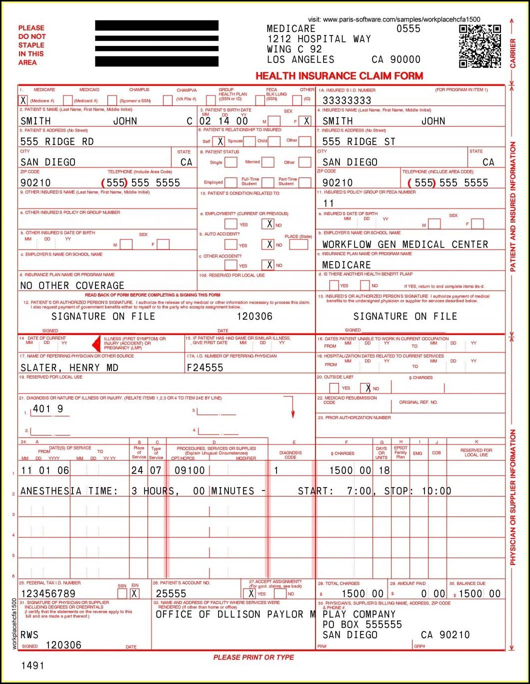 Free Hcfa 1500 Forms Printable