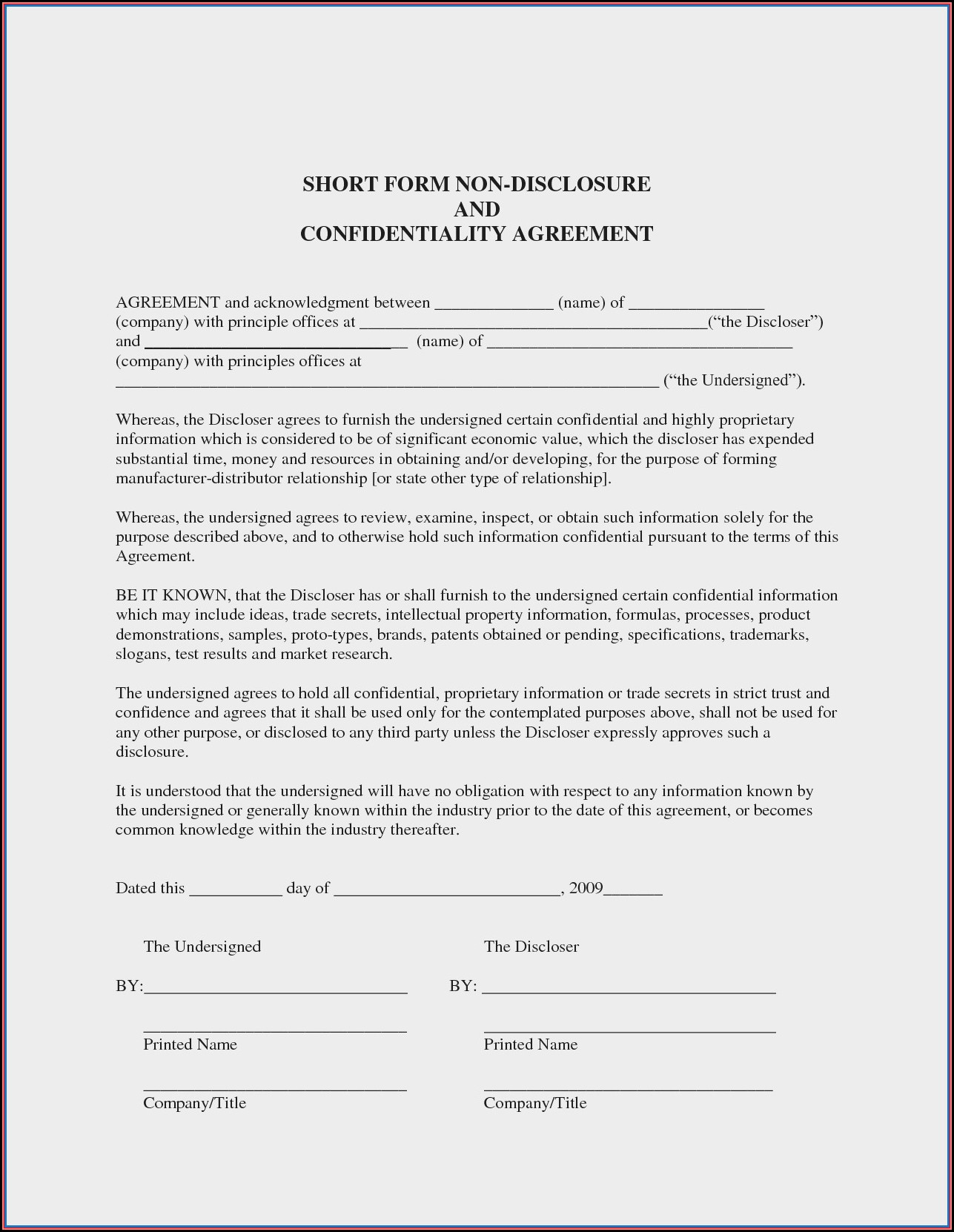 Free Non Disclosure Agreement Template Word