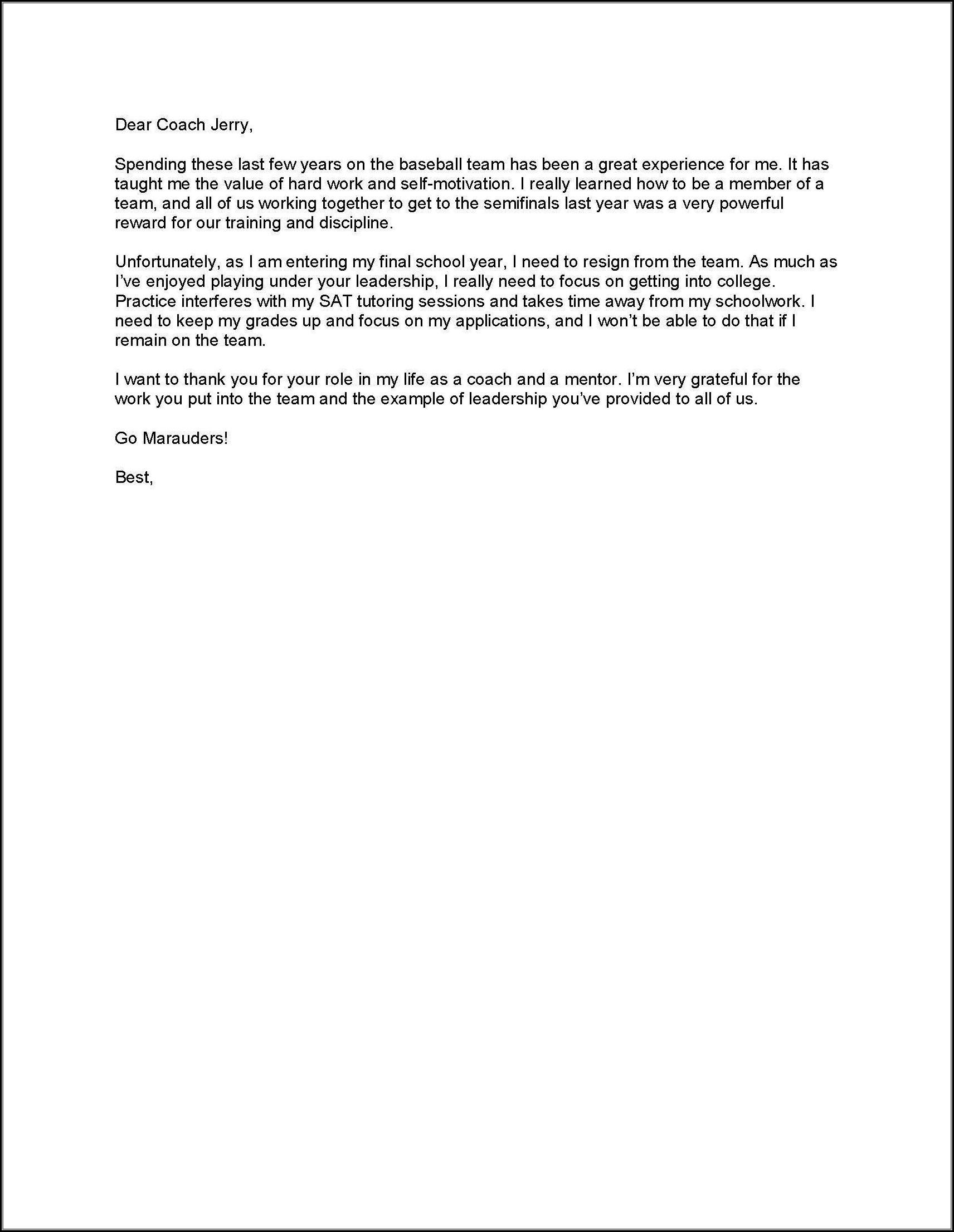 Free Online Resignation Letter Template