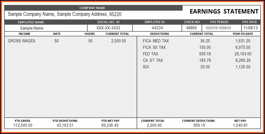 Free Pay Stub Template Excel Download