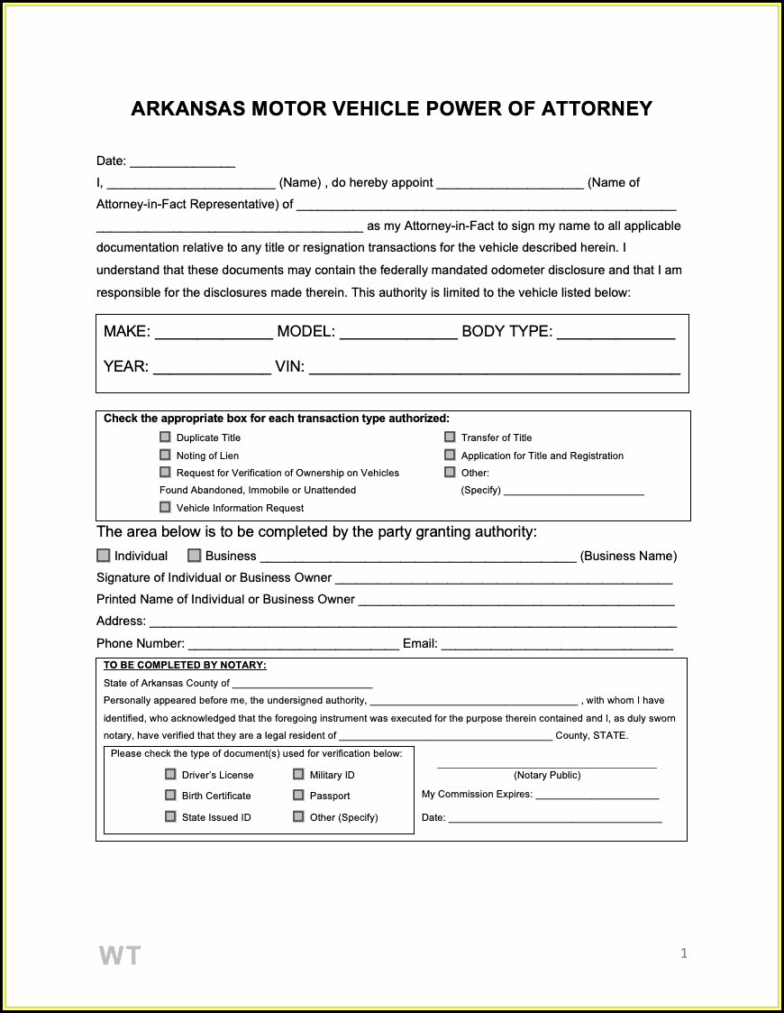 Free Power Of Attorney Form Arkansas
