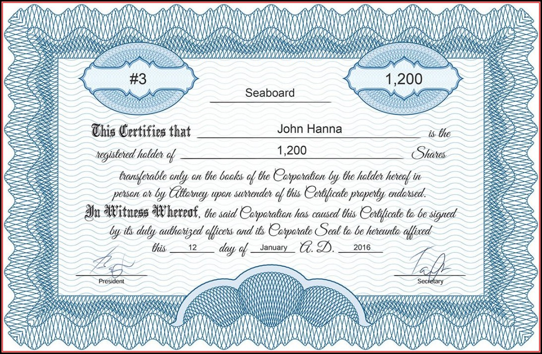 Free Printable Stock Certificate Template