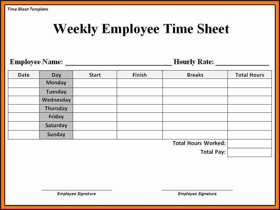 Free Printable Weekly Timesheet Template
