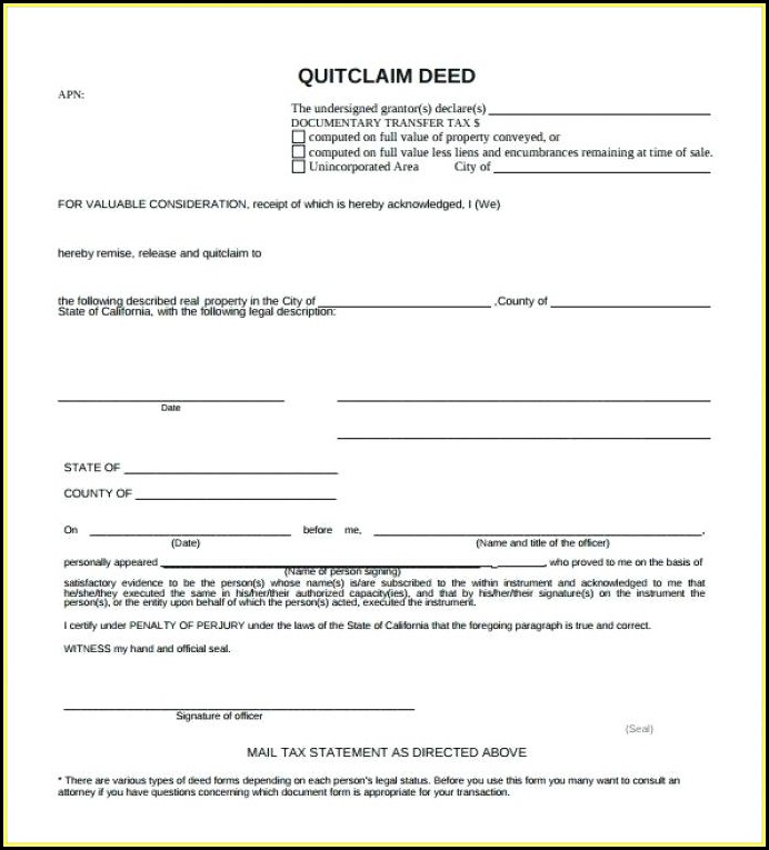 Free Quick Claim Deed Form Texas