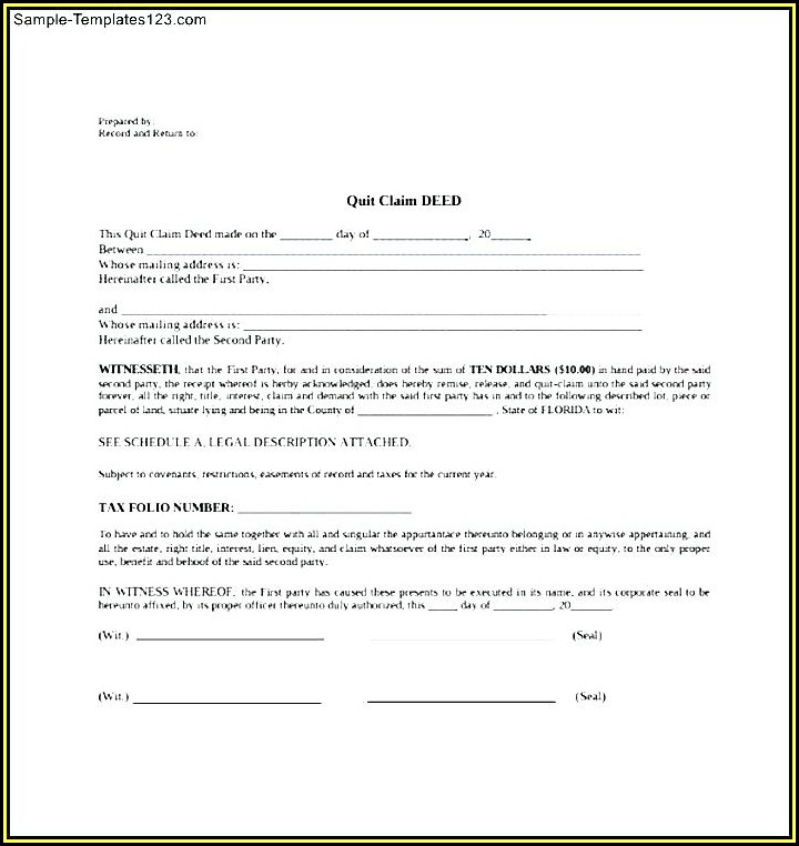 Free Quit Claim Deed Template Texas