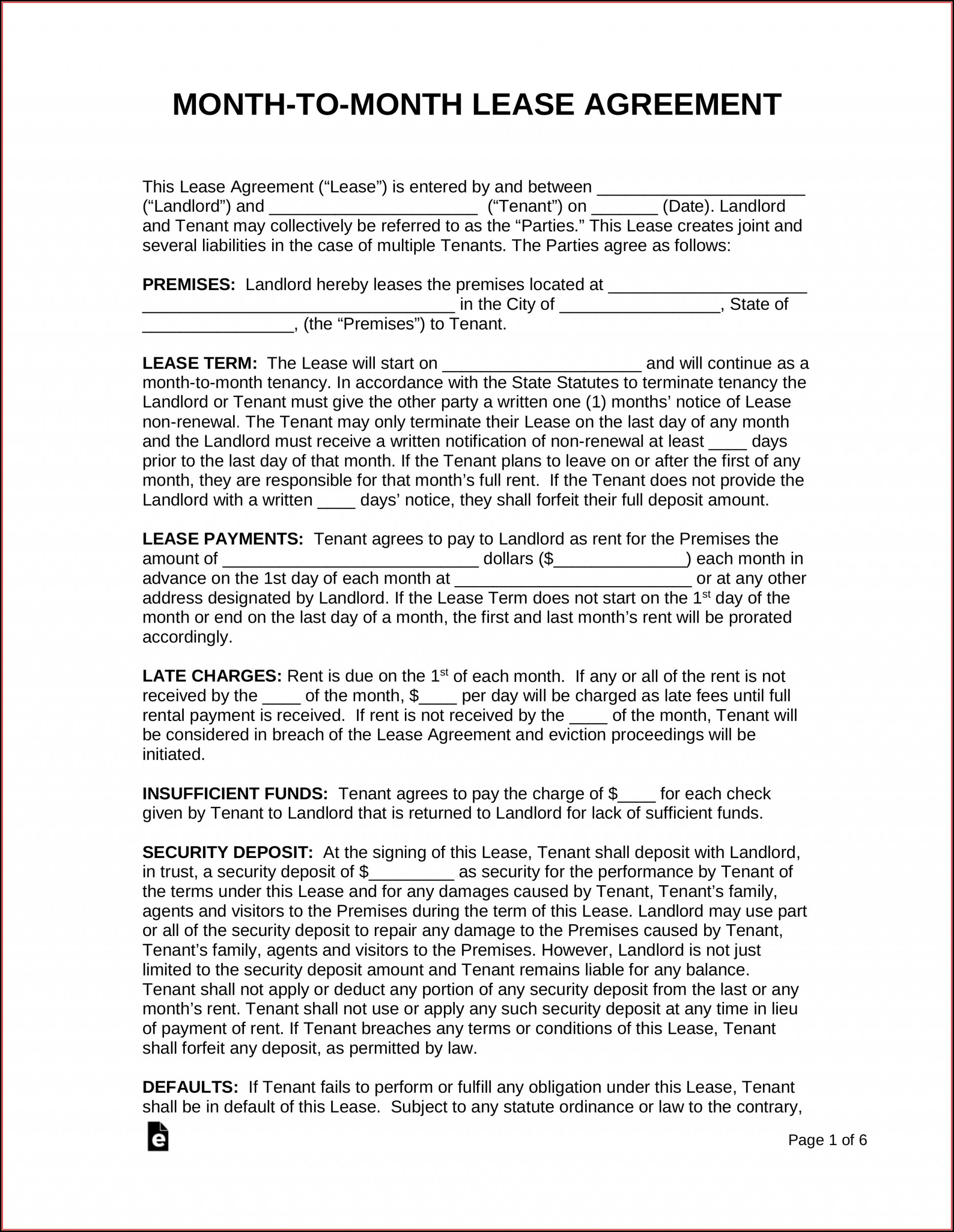 Free Rental Lease Agreement Template Texas