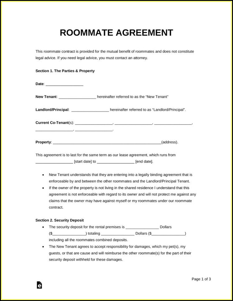 Free Roommate Rental Agreement Forms