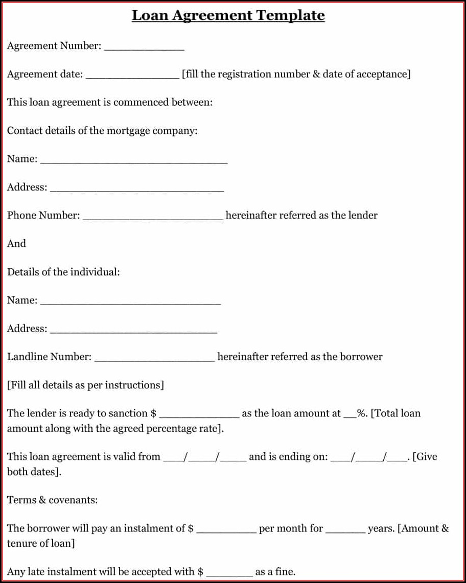 Free Simple Loan Agreement Form Template