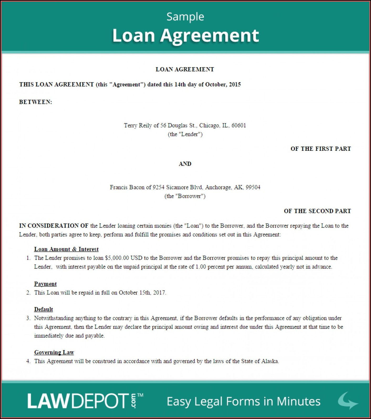Free Simple Loan Agreement Template South Africa