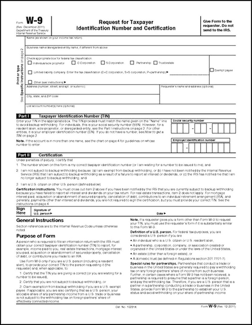 Free W 9 Forms To Print