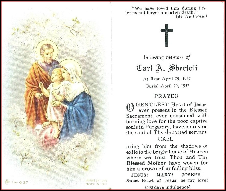 Funeral Mass Cards Templates