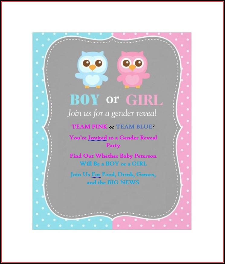 Gender Reveal Invitation Templates Free