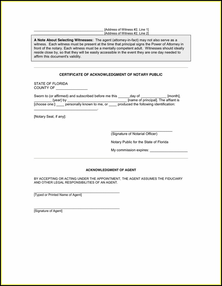 General Power Of Attorney Form Florida Pdf