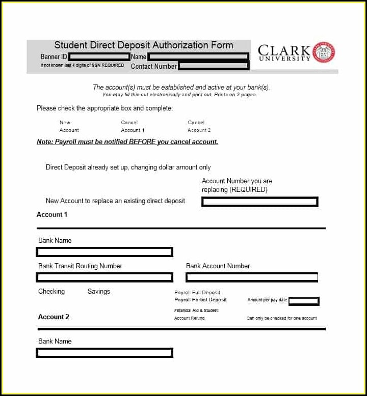 Generic Ach Direct Deposit Form