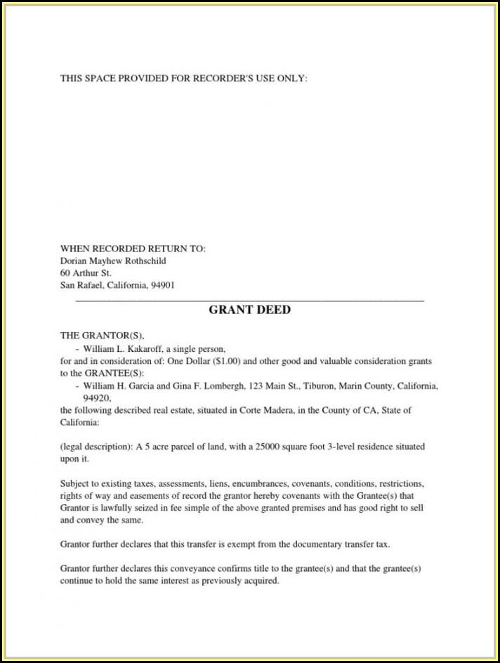 Grant Deed Form San Joaquin County