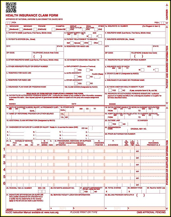 Health Insurance Claim Form 1500 Download Free