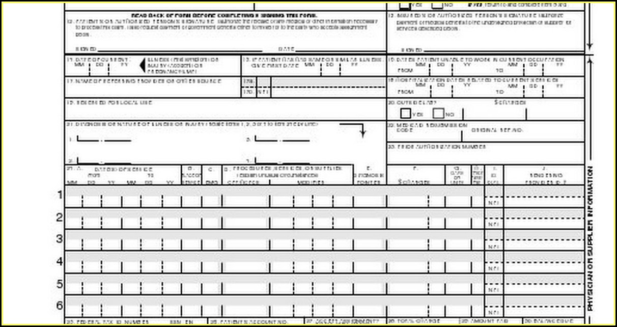 Health Insurance Claim Form 1500 Fillable Pdf