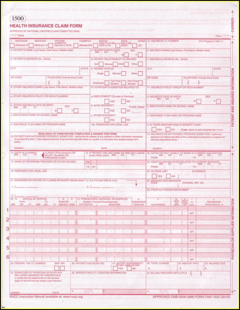 Health Insurance Claim Form 1500