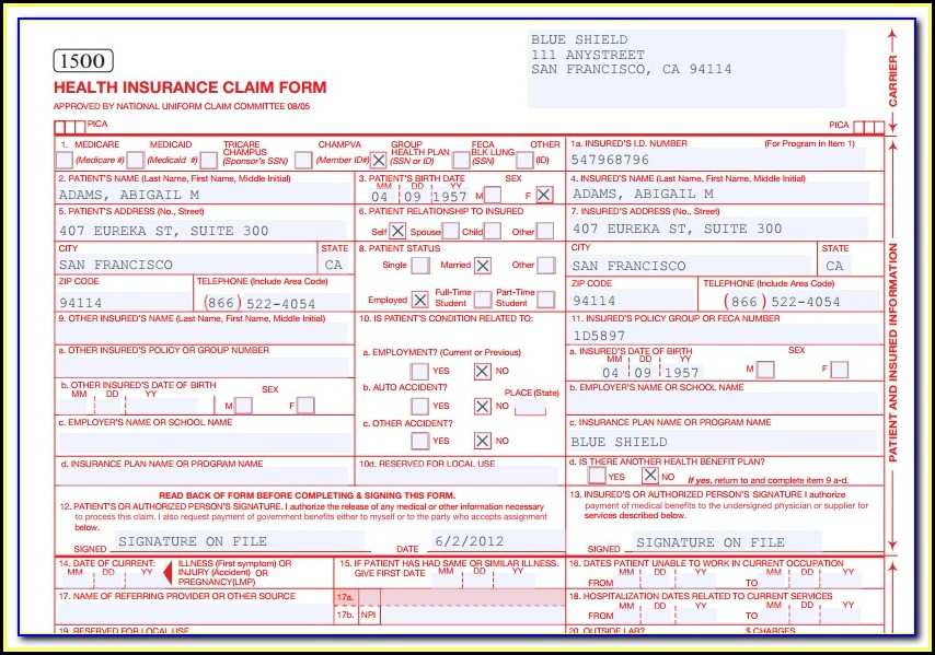 How To Fill Out A Cms 1500 Form For Workers Compensation