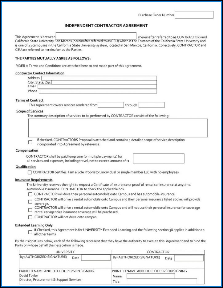 Independent Contractor Agreement Ontario Sample