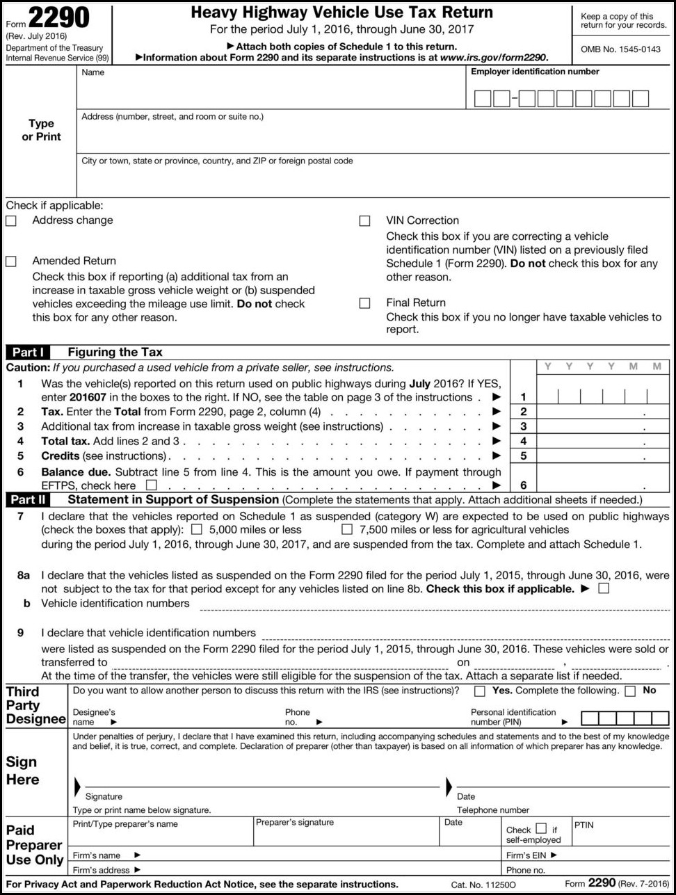 Instructions For Form 2290 Rev July 2018