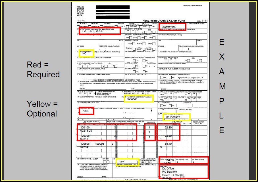 Insurance Claim Form 1500