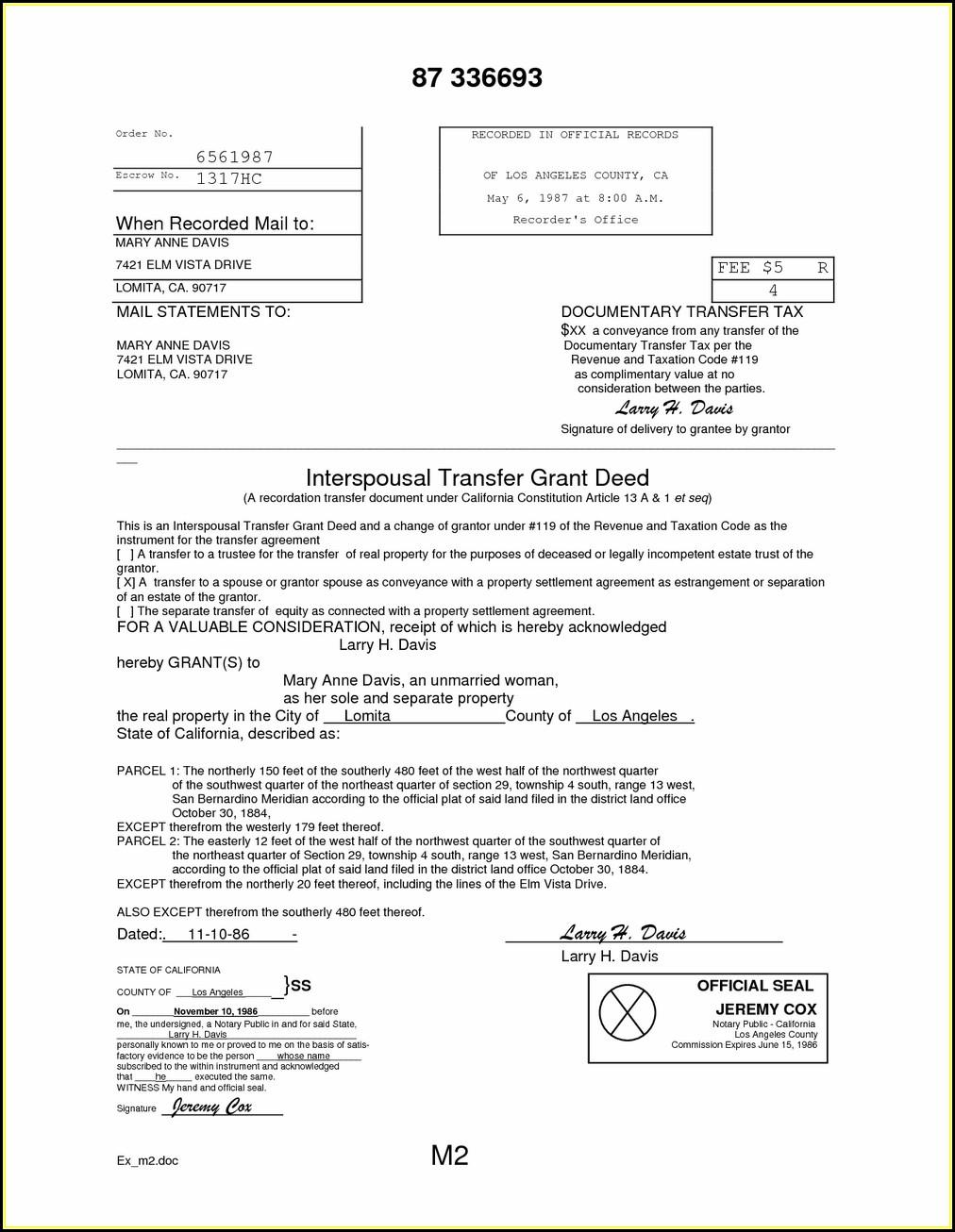 Interspousal Grant Deed Form California