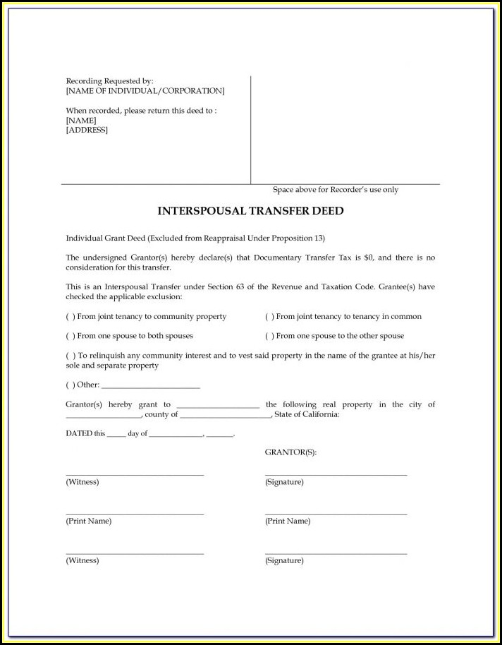 Interspousal Transfer Deed Form Texas
