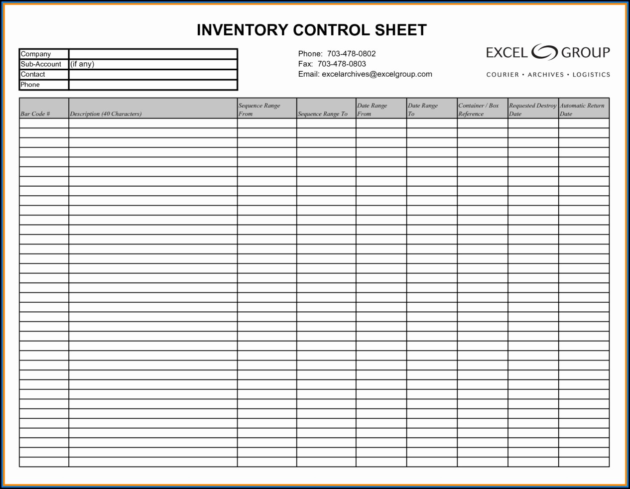 Inventory Spreadsheet Sample