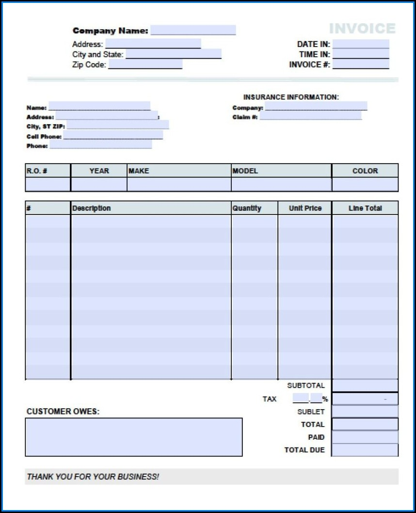 Invoice Template Excel Free Download