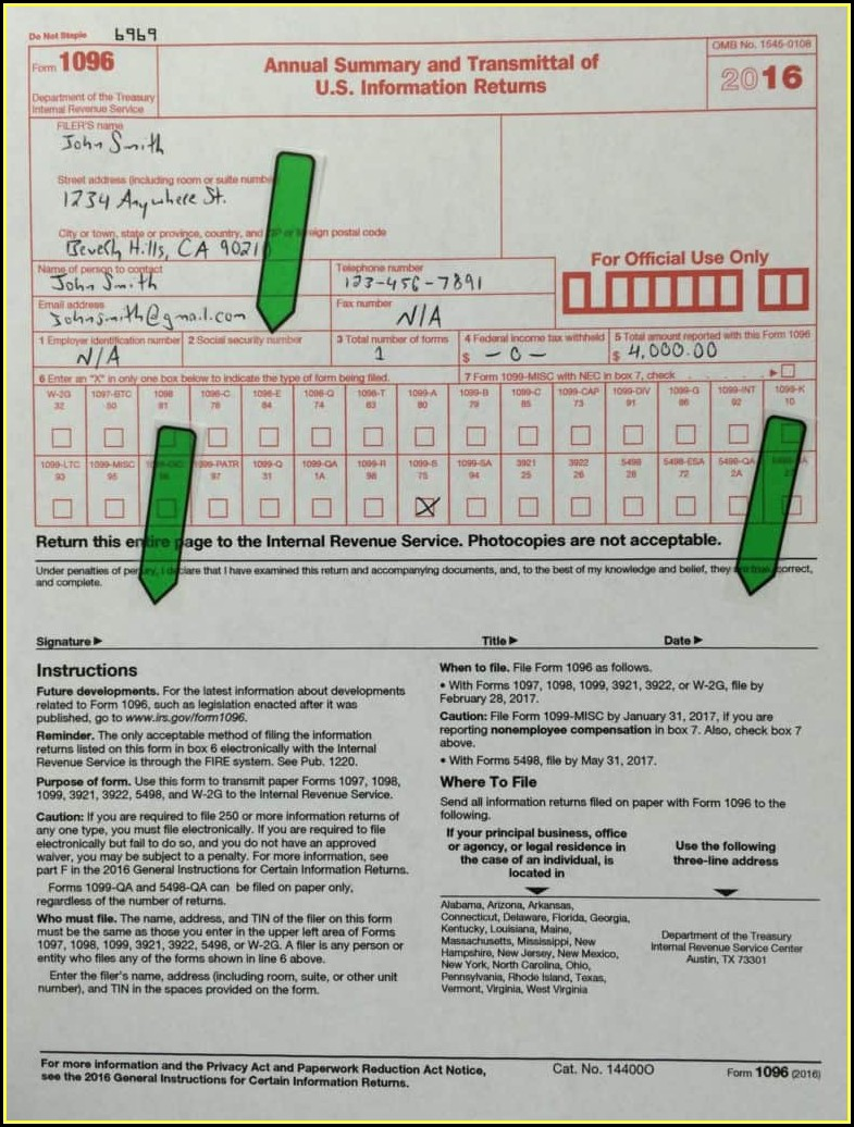 Irs Forms 1096 Instructions