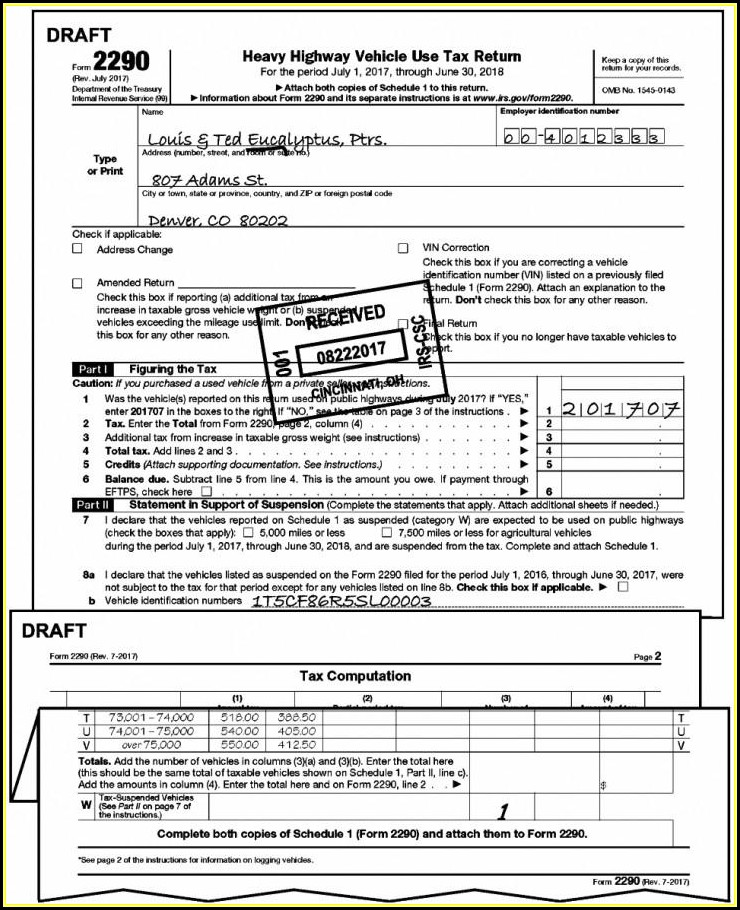 Irs Forms 2290 Printable