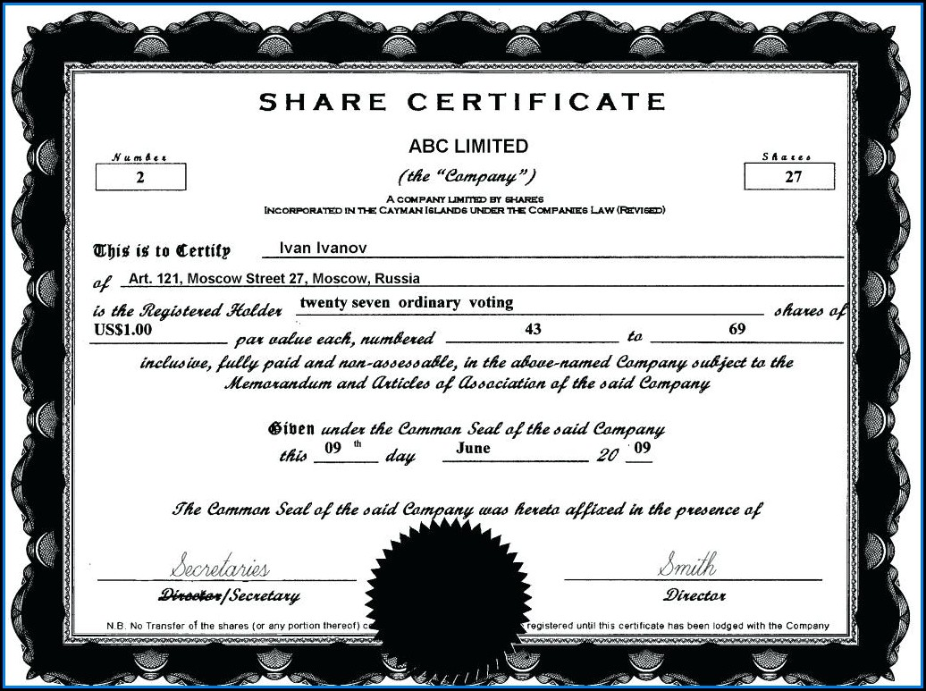 Limited Company Share Certificate Template