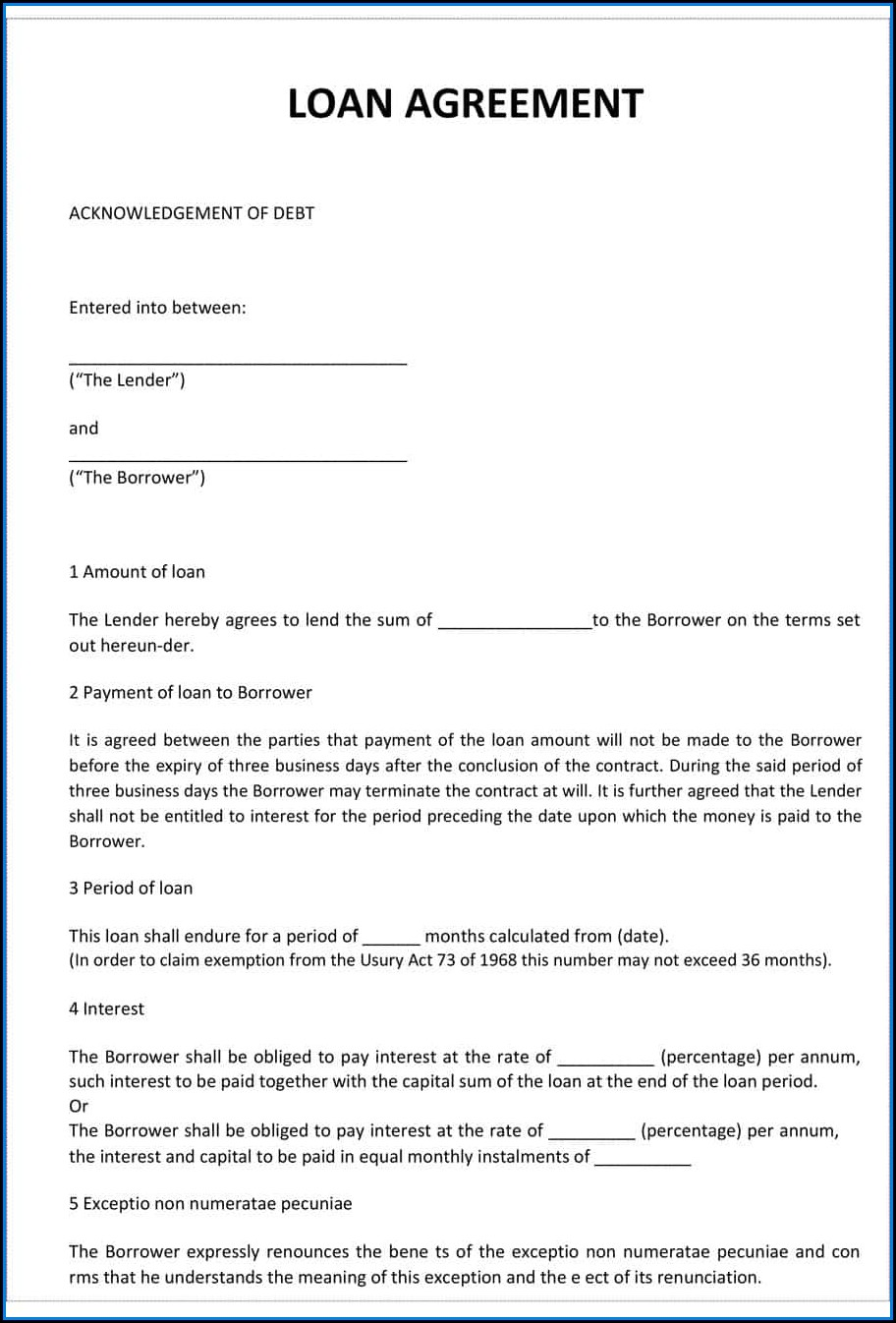 Loan Contract Agreement Template Free