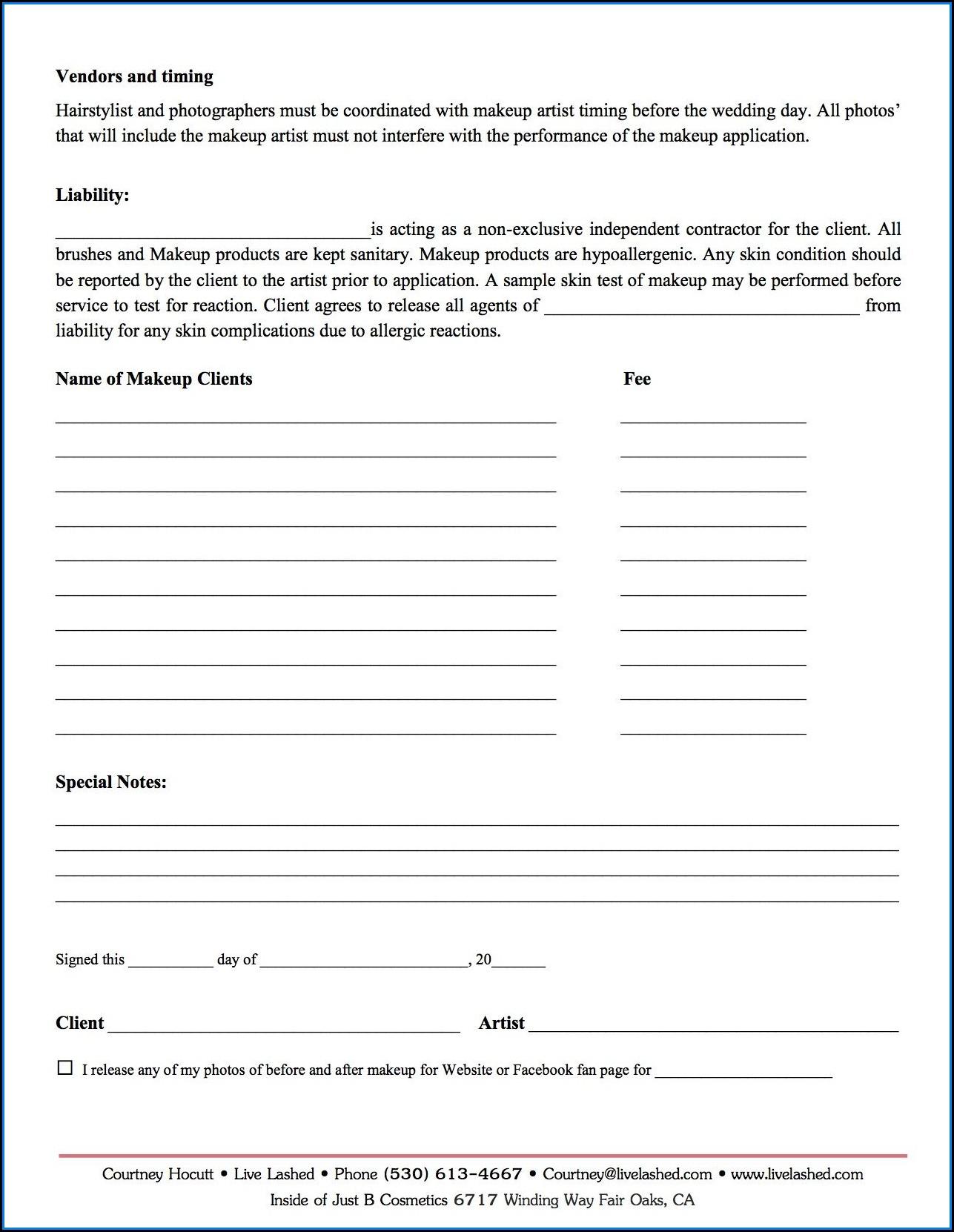 Makeup Artist Invoice Form